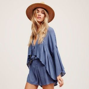 Free People She's A Vision Shorts Romper XS Blue